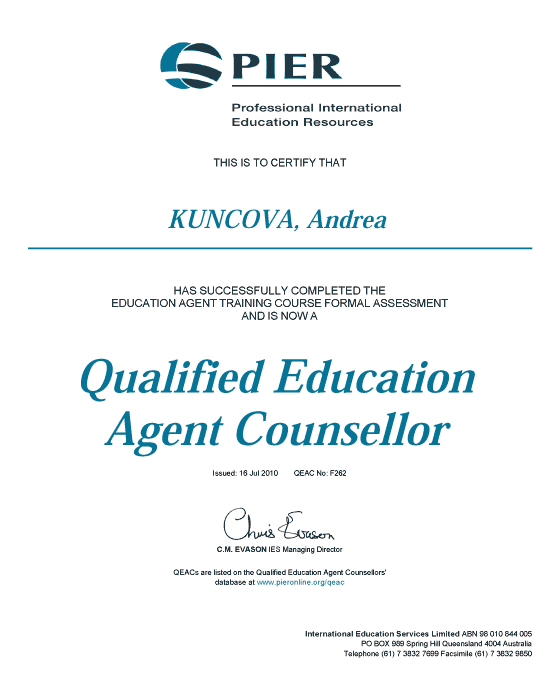 Certifikát Qualified Education Agent Counsellor